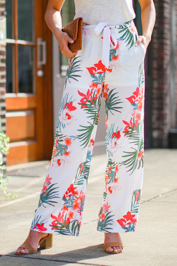 S / Cream Coast to Coast Tropical Waist Tie Pants - Madison + Mallory