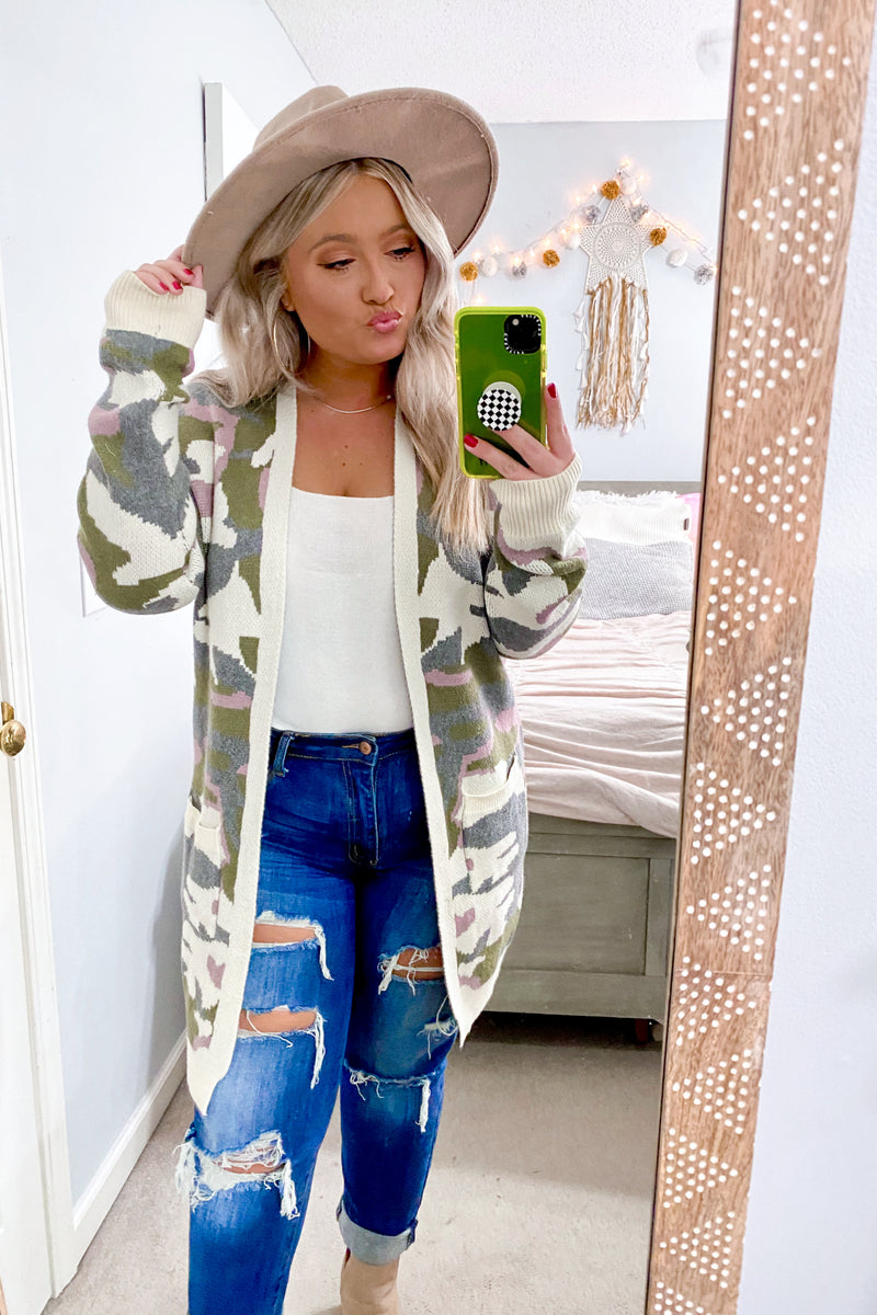 S / Cream Multi Rank and Style Camo Cardigan - Madison and Mallory