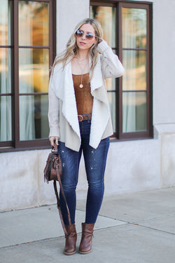 Keira Draped Suede Jacket - Sand - Madison + Mallory