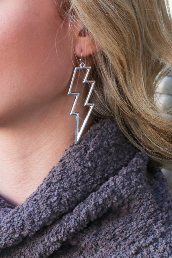 Silver Electricity Lightning Earrings - Madison + Mallory