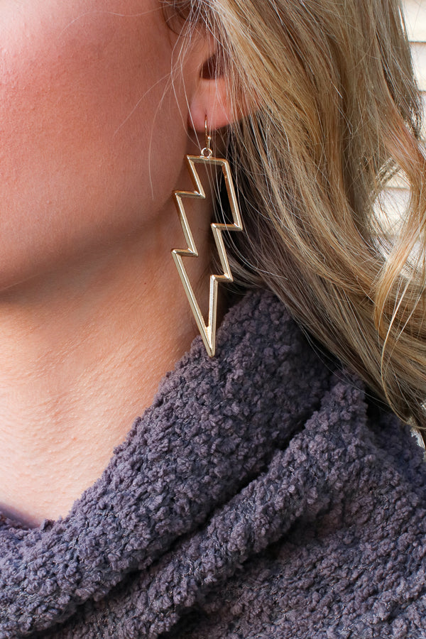 Gold Electricity Lightning Earrings - Madison + Mallory