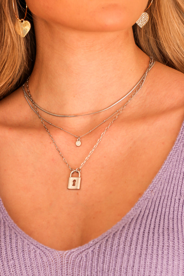 Silver Fame Seeker Lock Charm Layered Necklace - Madison and Mallory