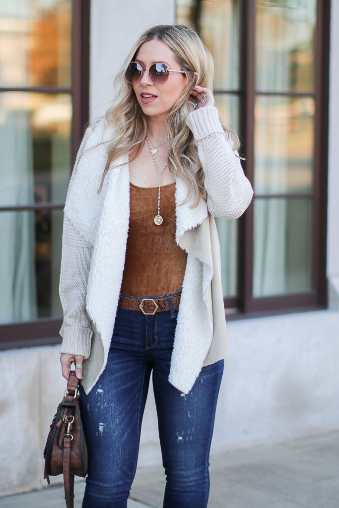 S / Sand Keira Draped Suede Jacket - Sand - Madison + Mallory