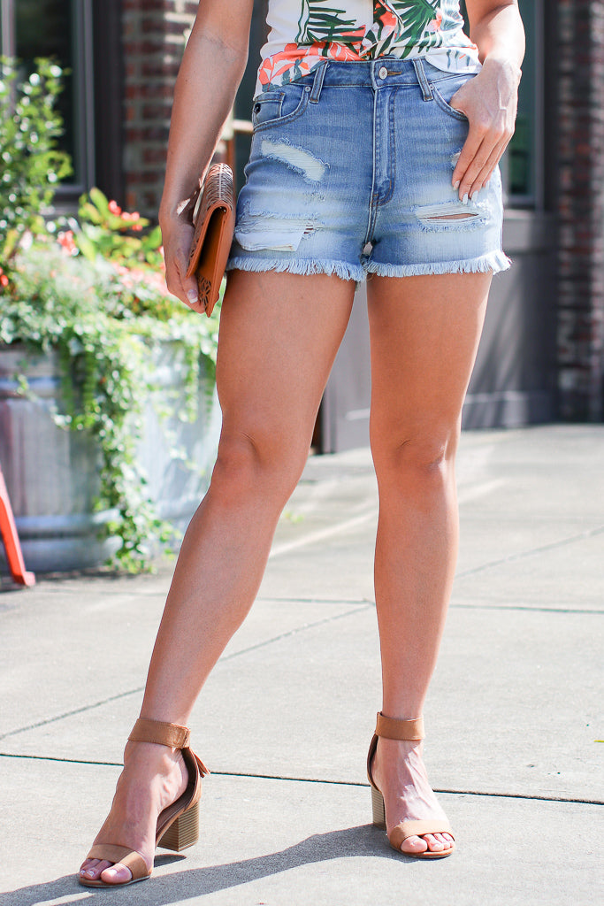S / Denim Campbell Distressed Denim Shorts - Madison + Mallory
