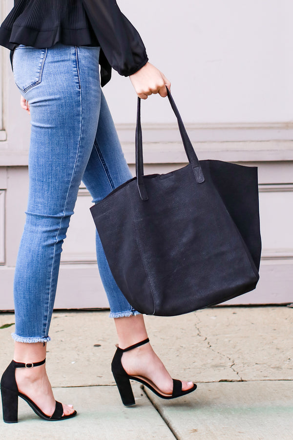 Black Drawing Attention Leather Shopper Bag - Madison and Mallory