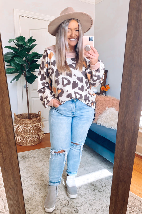 S / Mocha Multi Maxed Out Multi Color Animal Print Pullover - Madison and Mallory