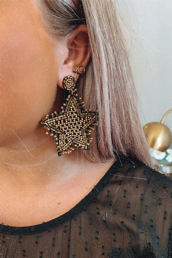 Gold Bright Sights Beaded Star Earrings - Madison and Mallory