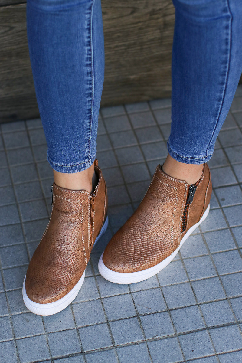 End of it All Wedge Sneakers - Nude Snake - FINAL SALE - Madison + Mallory