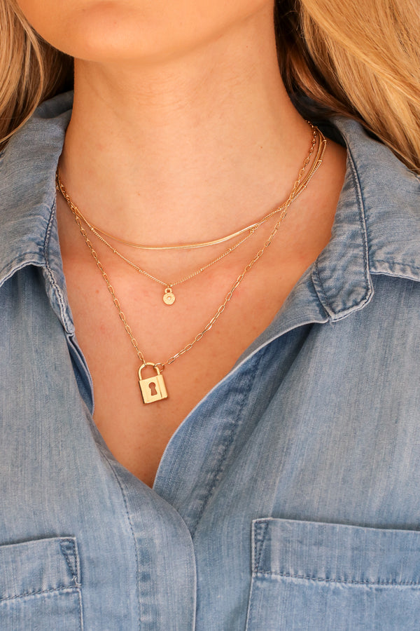 Gold Fame Seeker Lock Charm Layered Necklace - Madison and Mallory
