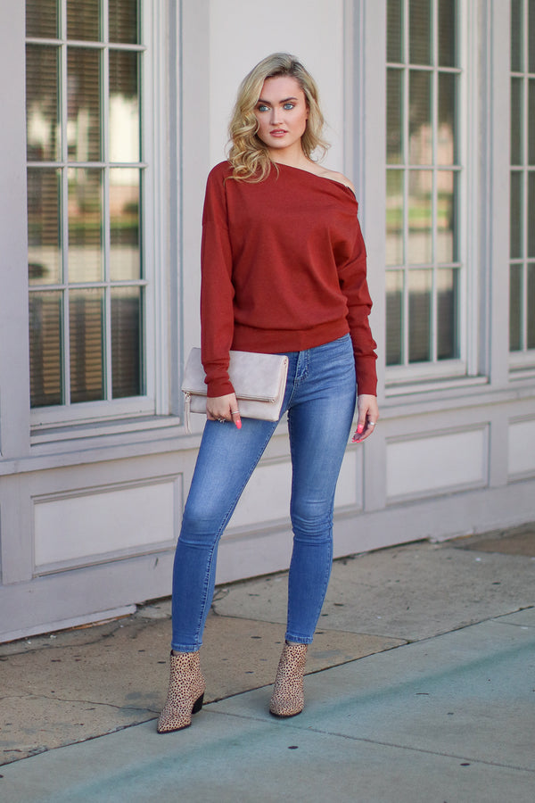 Zip It Off Shoulder Sweater - Madison + Mallory
