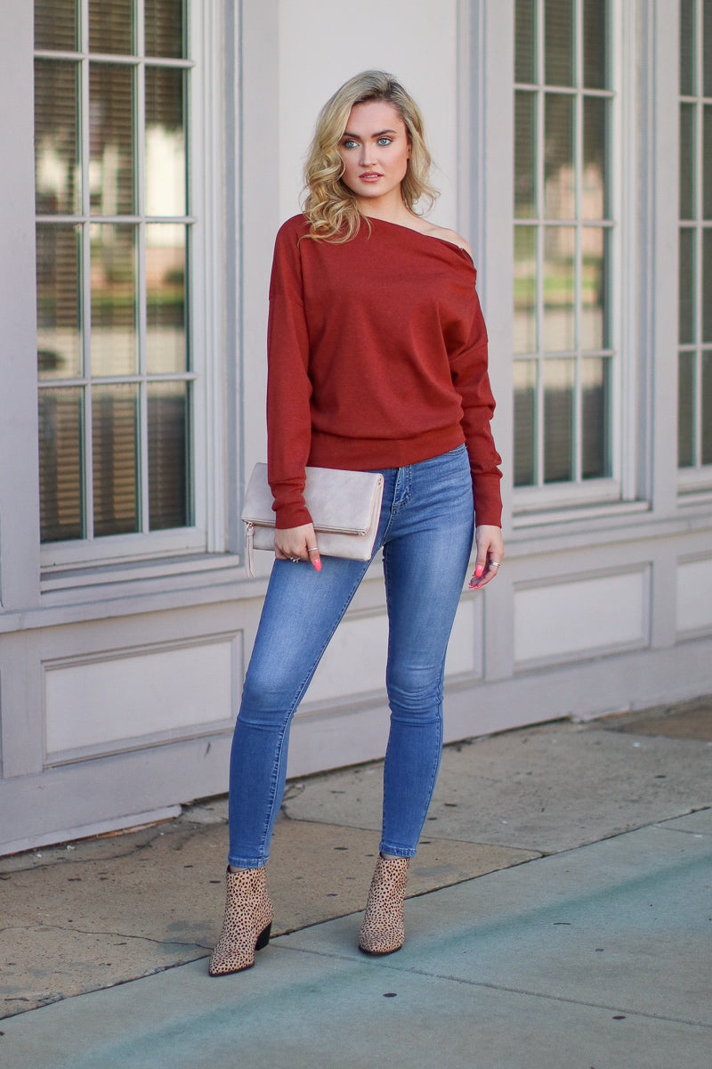 Zip It Off Shoulder Sweater - FINAL SALE - Madison + Mallory