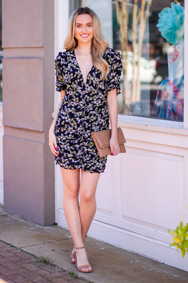 Verane Floral Print Ruched Dress - Madison and Mallory