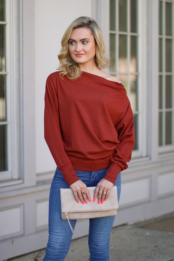 S / Brick Zip It Off Shoulder Sweater - Madison + Mallory