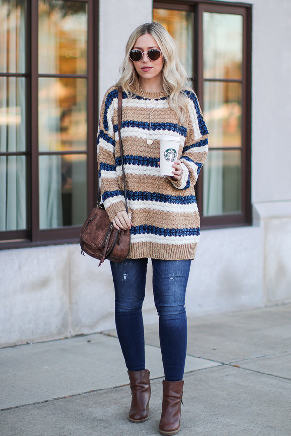 Mixed Signals Multi Striped Sweater - Khaki - Madison + Mallory