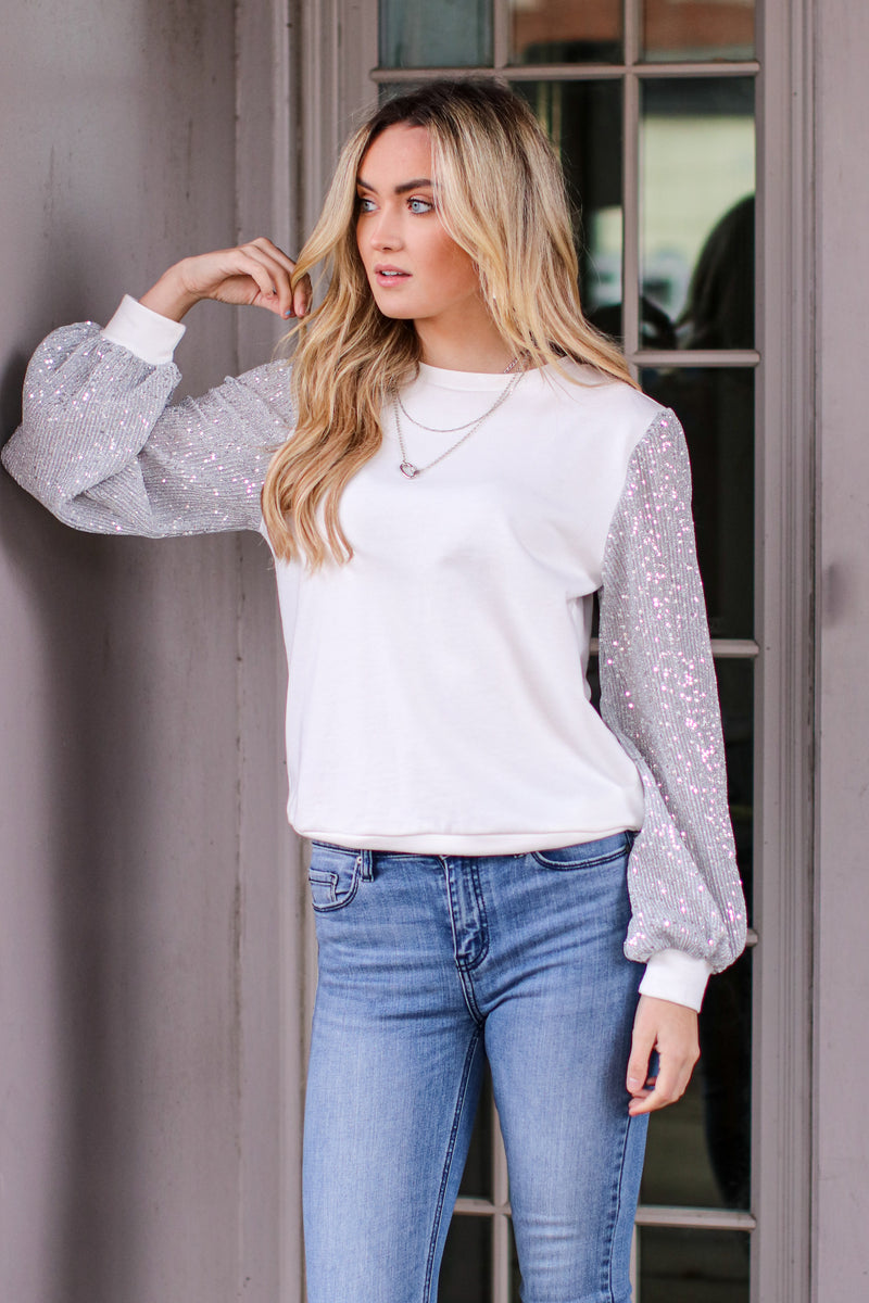 Give it Some Glamour Sequin Detail Top - Madison and Mallory