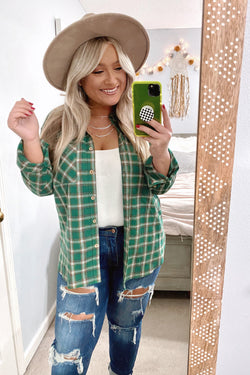 S / Green Montpelier Plaid Button Down Top - Madison and Mallory