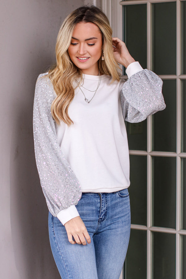 S / White Give it Some Glamour Sequin Detail Top - Madison and Mallory