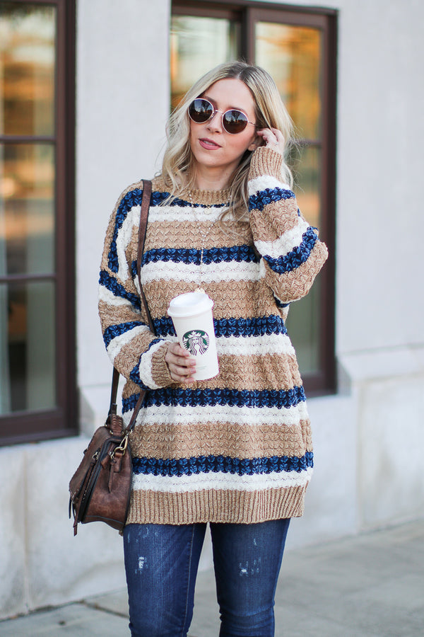 OS / Khaki Mixed Signals Multi Striped Sweater - Khaki - Madison + Mallory