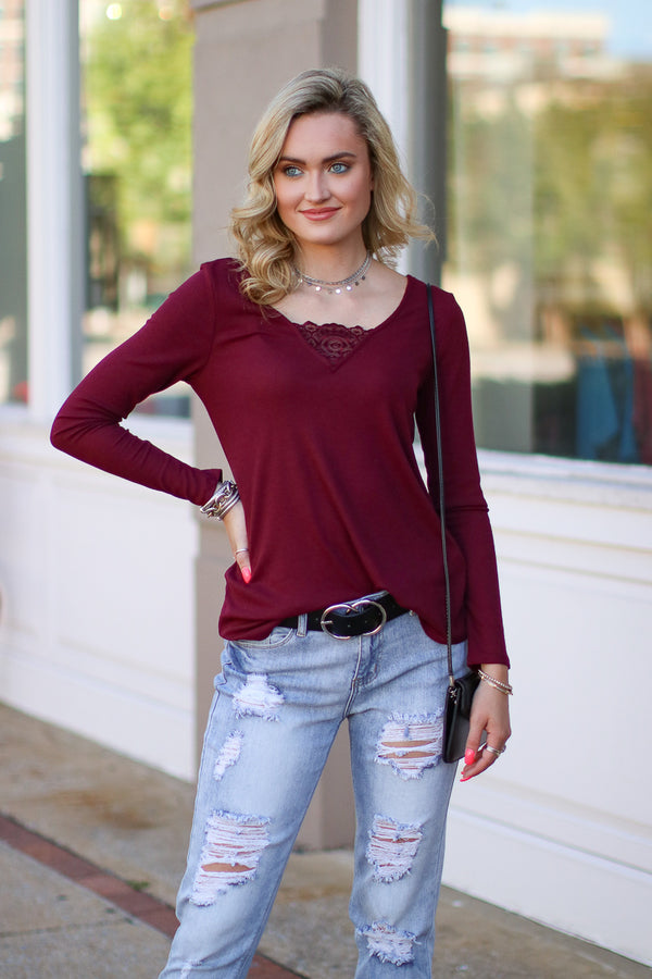 Burgundy / S Garnet V-Neck Lace Rib Top - Madison + Mallory