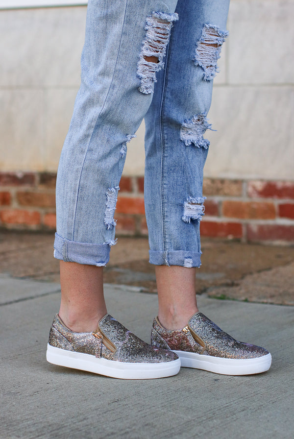 Simmer Floral Sparkle Slip-On Sneakers - Madison + Mallory