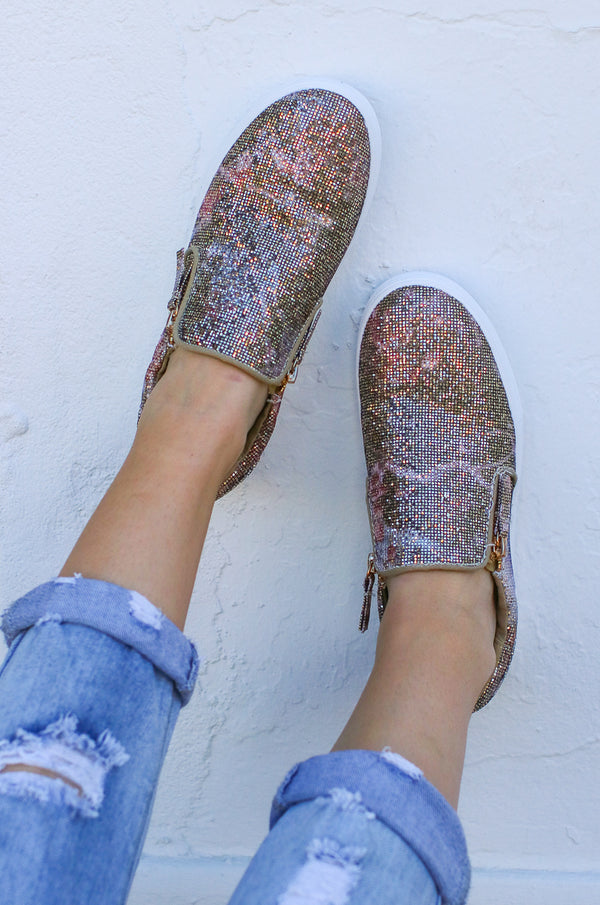 6 / Rose Simmer Floral Sparkle Slip-On Sneakers - Madison + Mallory