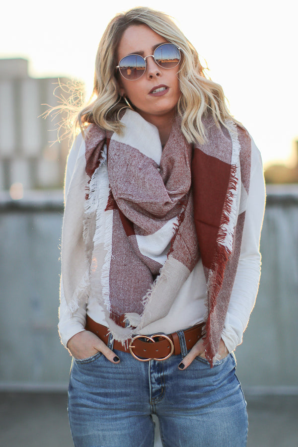 OS / Brown Keeping It Cozy Plaid Scarf + MORE COLORS - Madison + Mallory