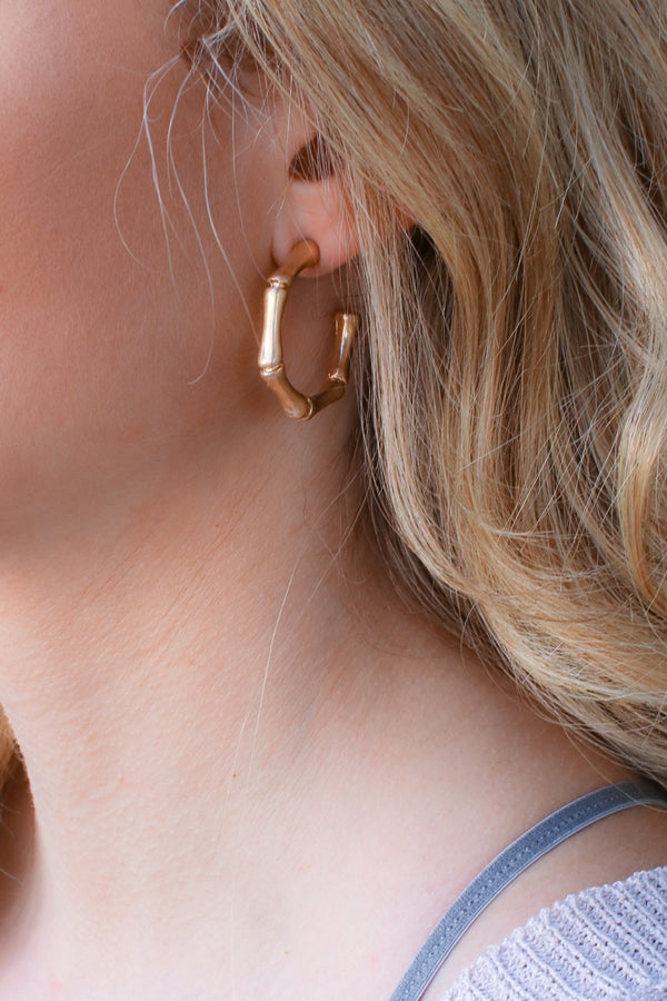 Gold Andale Bamboo Hoop Earrings - Madison + Mallory