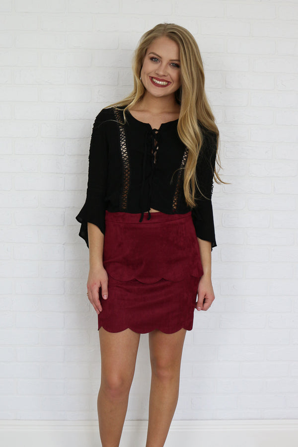XS / Burgundy Suede Scalloped Skirt - Madison + Mallory