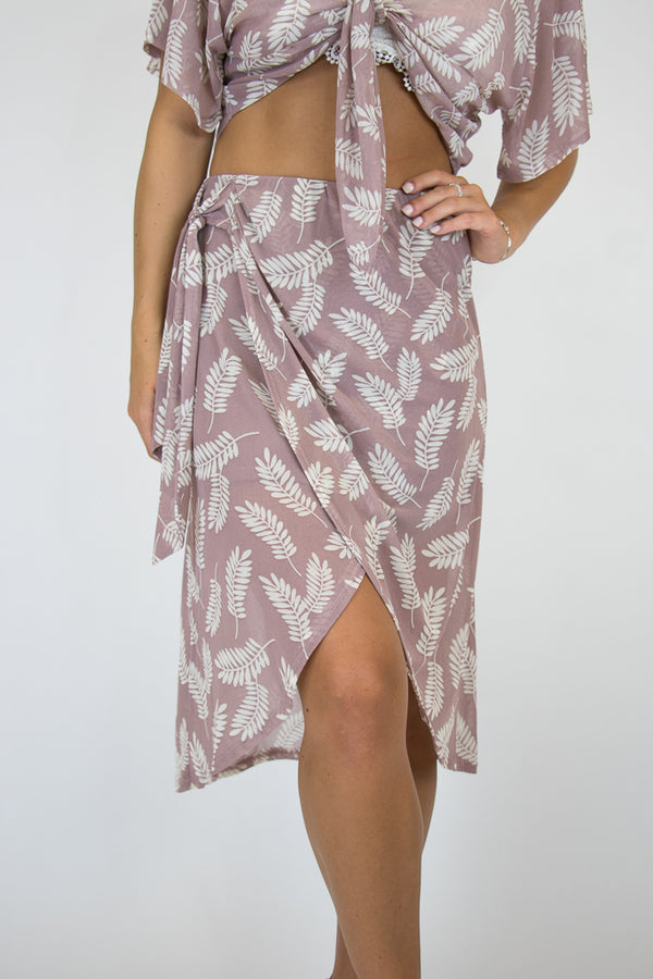 S / Mauve Rona Tie Wrap Skirt - FINAL SALE - Madison and Mallory