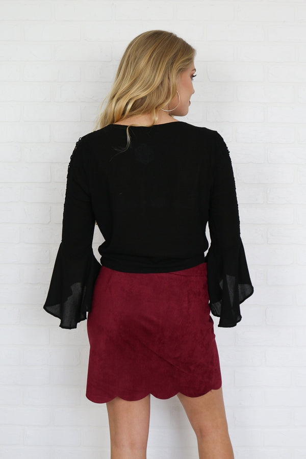 Suede Scalloped Skirt - Madison + Mallory
