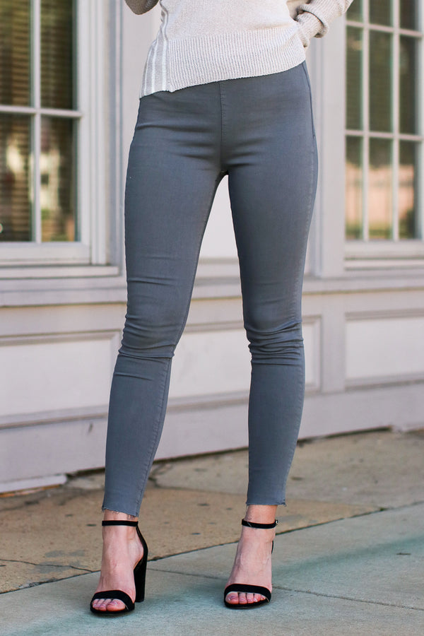 S / Charcoal Lucky Chance Denim Jeggings - Madison + Mallory