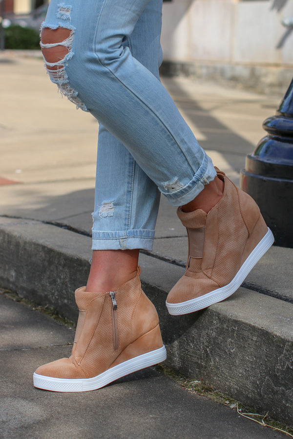 Step It Up Suede Wedge Sneakers - Camel - Madison + Mallory