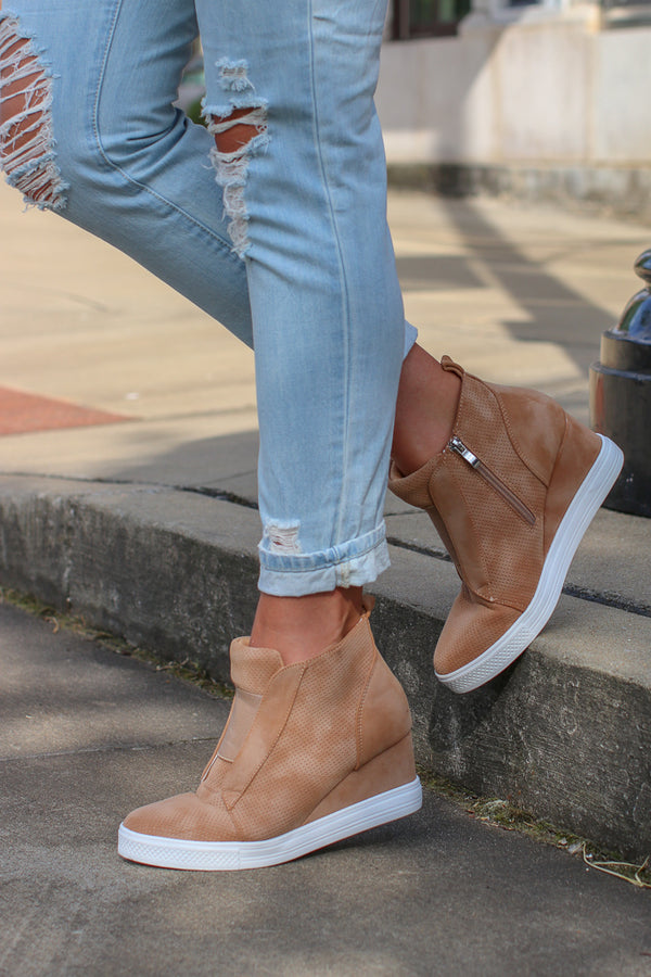 5.5 / Camel Step It Up Suede Wedge Sneakers - Camel - Madison + Mallory