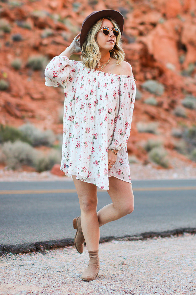 S / White Anika Ditsy Floral Off Shoulder Tunic - FINAL SALE - Madison + Mallory