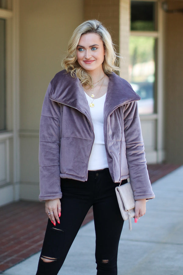 S / Mushroom Stratton Quilted Moto Jacket - Madison + Mallory
