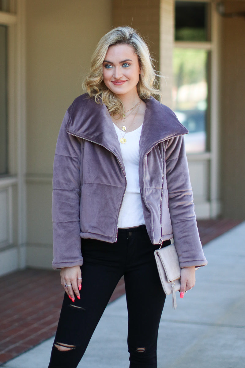 S / Mushroom Stratton Quilted Moto Jacket - FINAL SALE - Madison and Mallory
