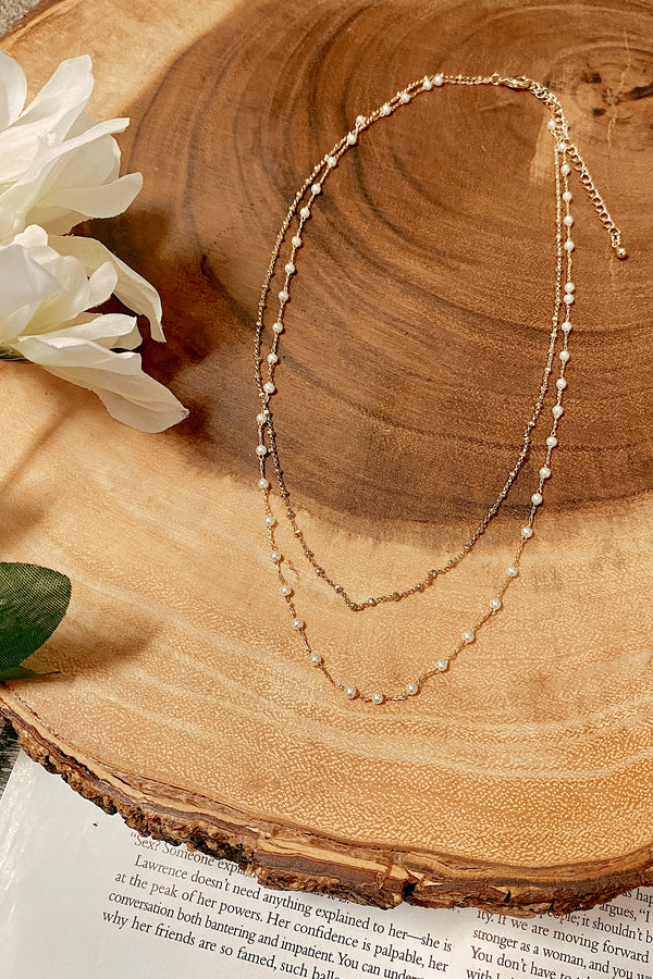 Isodora Dainty Pearl Layered Necklace - Madison and Mallory