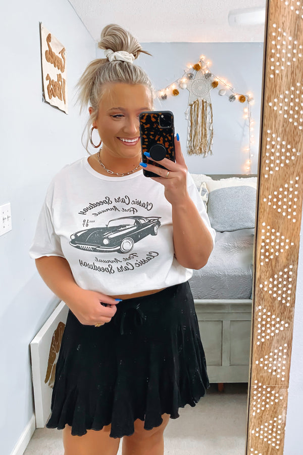 S / White Classic Car Graphic Boyfriend Tee - Madison and Mallory