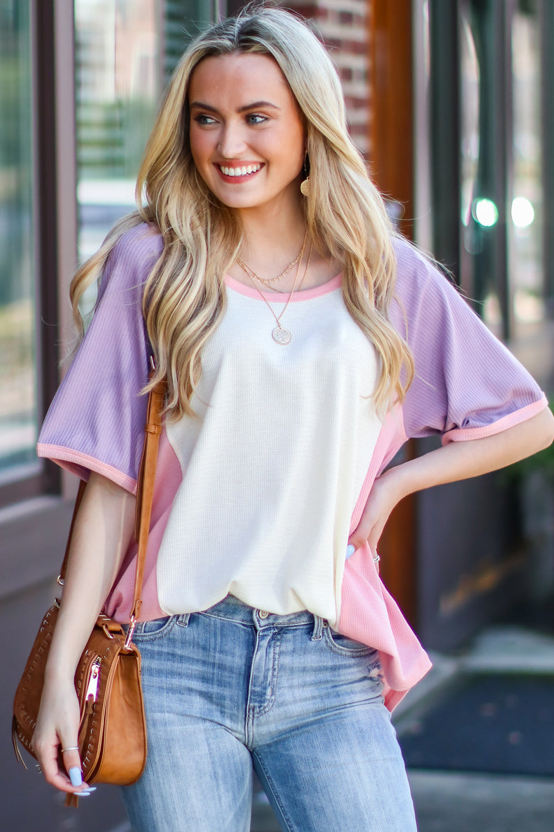 S / Cream Faylinn Color Block Top - Madison and Mallory