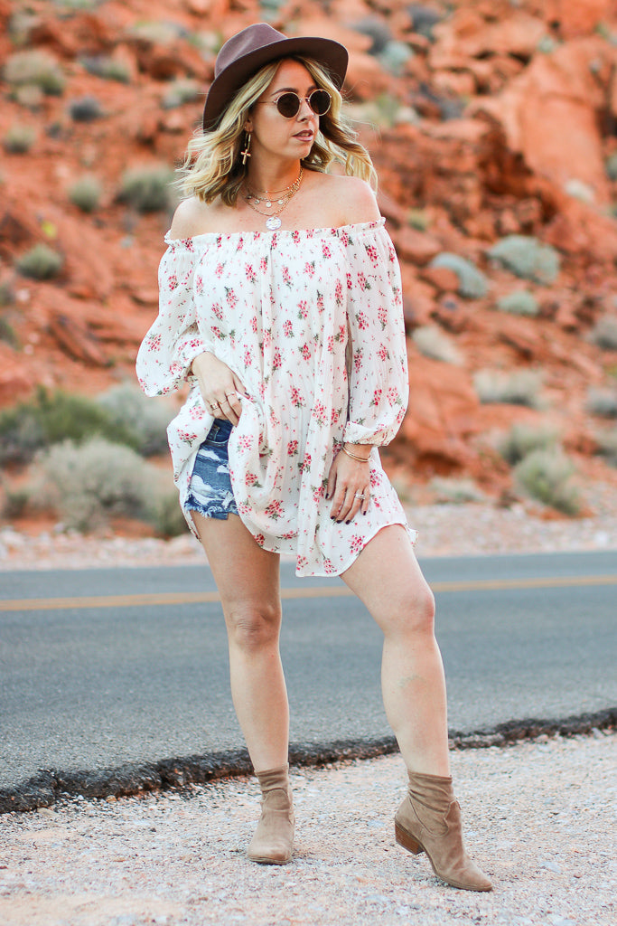 Anika Ditsy Floral Off Shoulder Tunic - FINAL SALE - Madison + Mallory