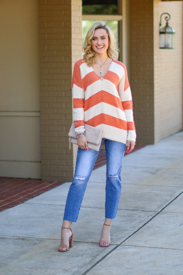 Annalisa Oversize Striped Knit Sweater - Madison + Mallory
