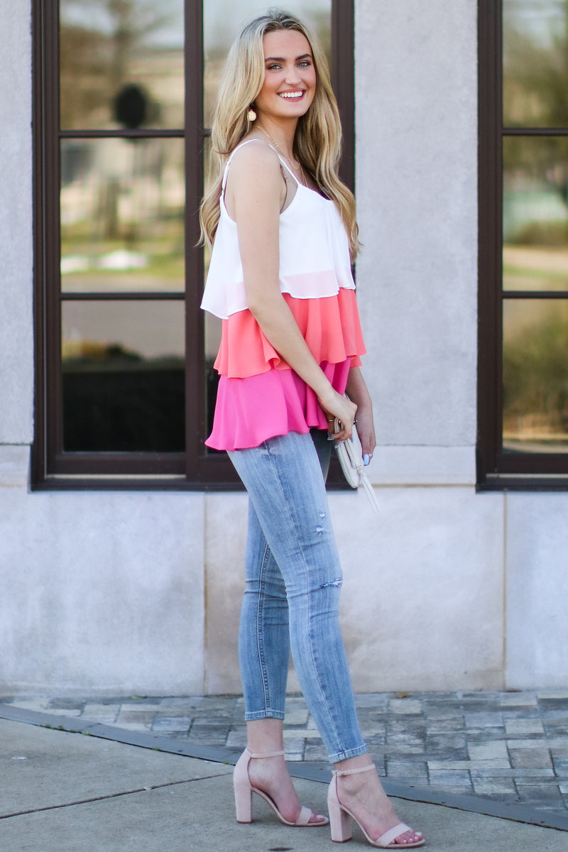 Cakewalk Color Block Tiered Top - Madison and Mallory