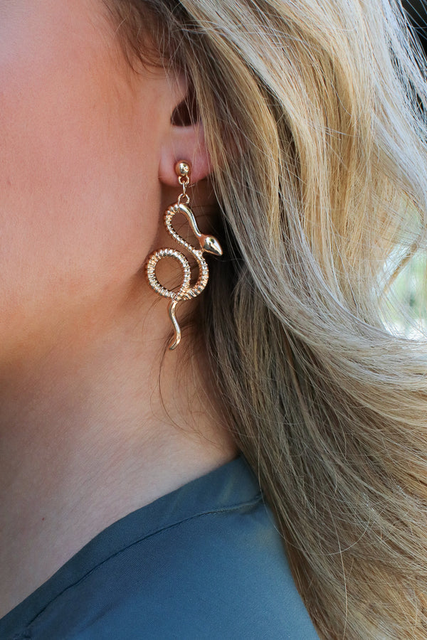Gold Sassy Serpent Earrings - Madison + Mallory
