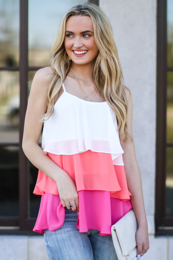 S / Pink Cakewalk Color Block Tiered Top - Madison and Mallory