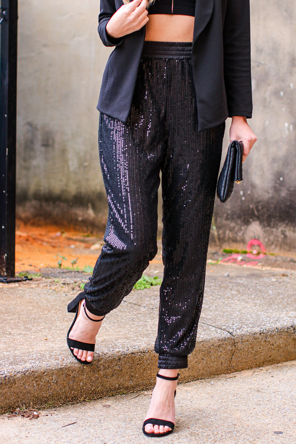 S / Black Show Stopper Sequin Joggers - Madison and Mallory