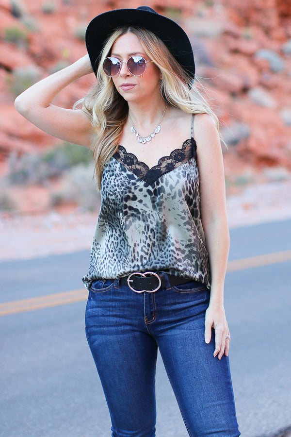 Paula Leopard and Lace Tank Top - Madison + Mallory
