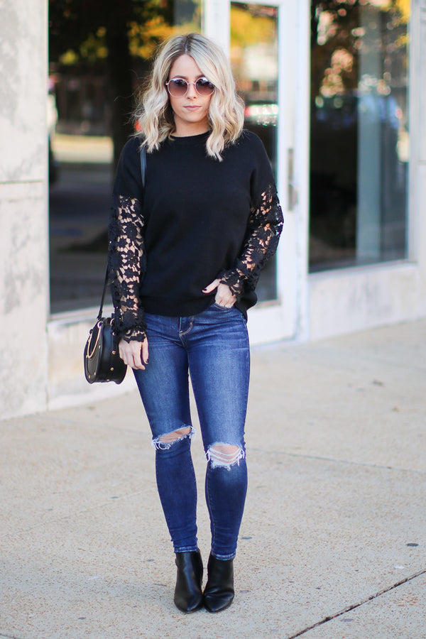 All About That Lace Top - Black - Madison + Mallory