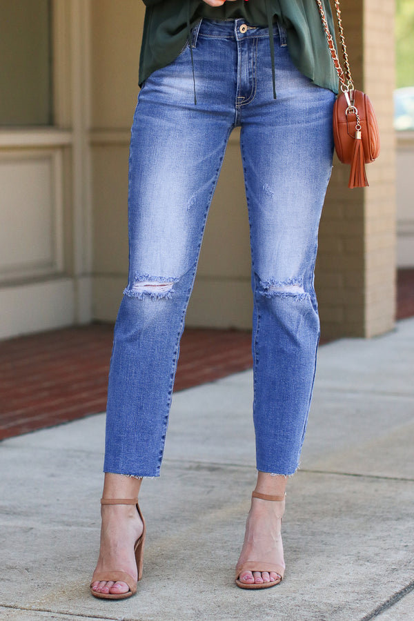 1 / Medium Take a Shot Distressed Jeans - Madison + Mallory