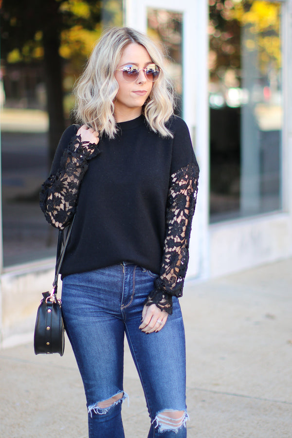 S / Black All About That Lace Top - Black - Madison + Mallory