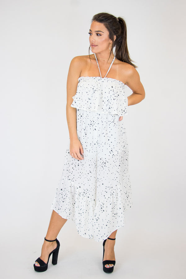 M / White Lucky Star Jumpsuit - Madison + Mallory